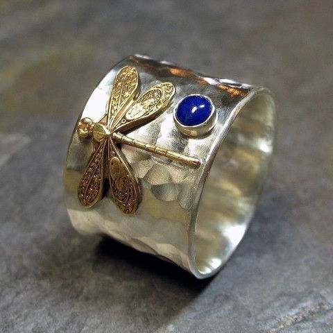 Wide Band Sterling Silver Dragonfly Ring with choice of stone     ...from Lavender Cottage Jewelry