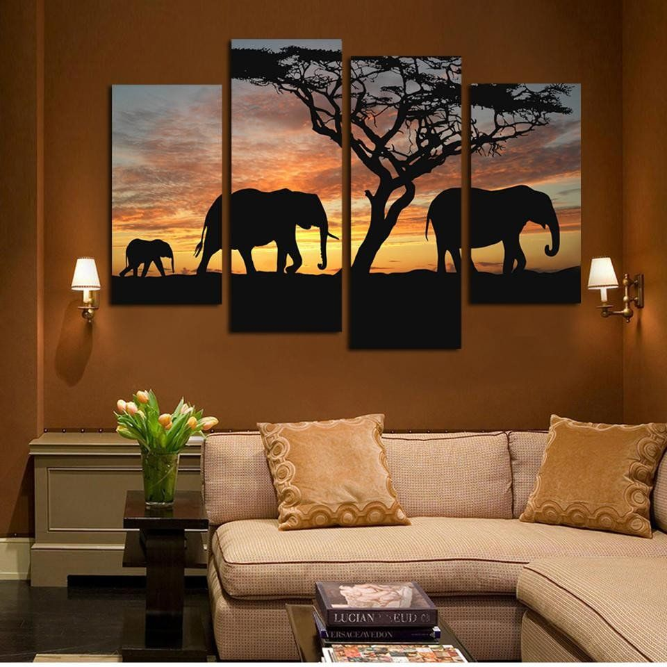 4 Ppcs Sunset Elephant Painting Canvas Wall Art Picture