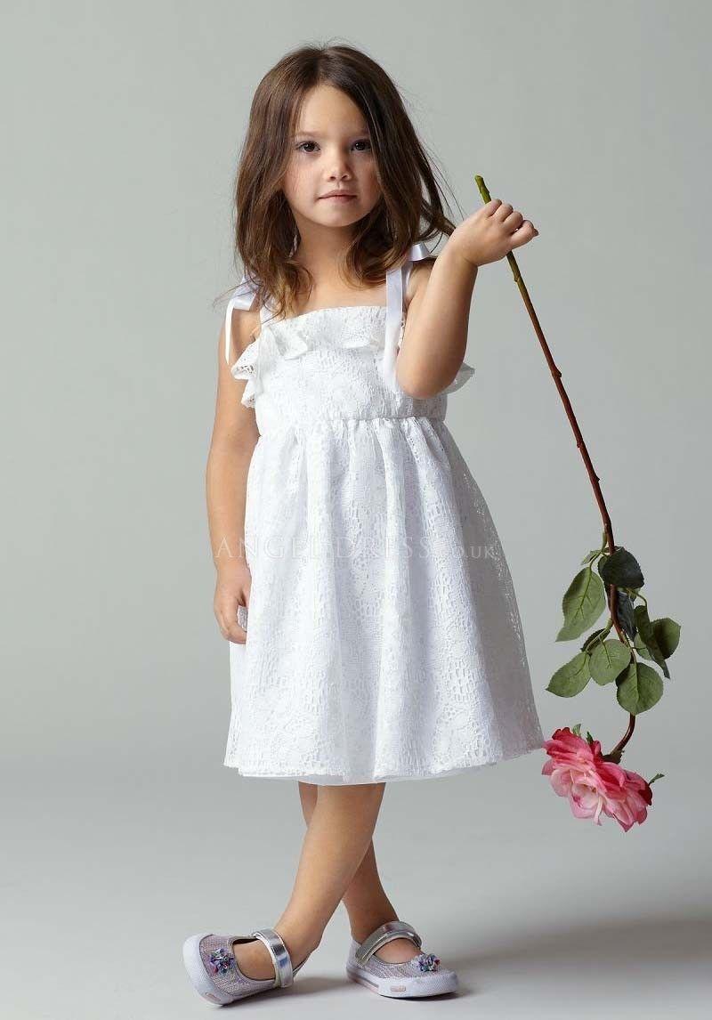 Modern knee length straps lace a line flower girl dress flower