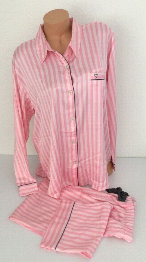 NEW! Victoria Secret Satin Afterhours Pajama PJ Pink Iconic Stripe NWT Set  XL  VictoriasSecret  PajamaSets e28b1874b