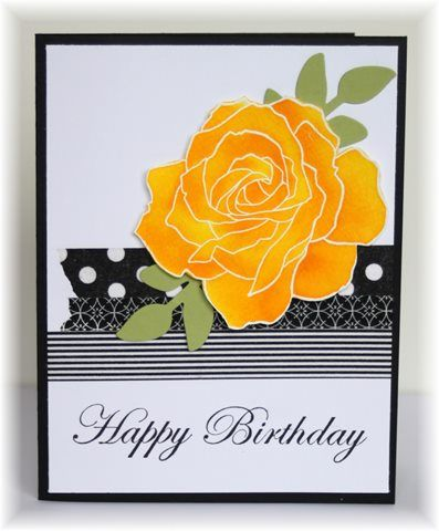 handmade birthday card ... luv the yellow and orange rose done on watercolor paper and cut out ... strips of black and white washi tapes form the background ...