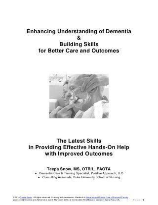 Teepa Snow Dementia Building Skill Handout Dementia Dementia Training Senior Care