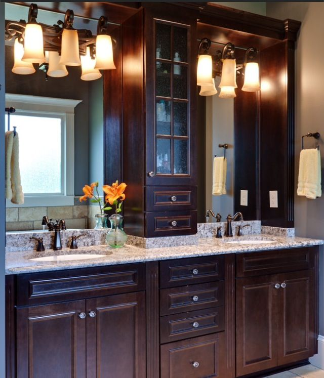 Double vanity bathroom ideas roomspiration pinterest for Bathroom cabinet ideas