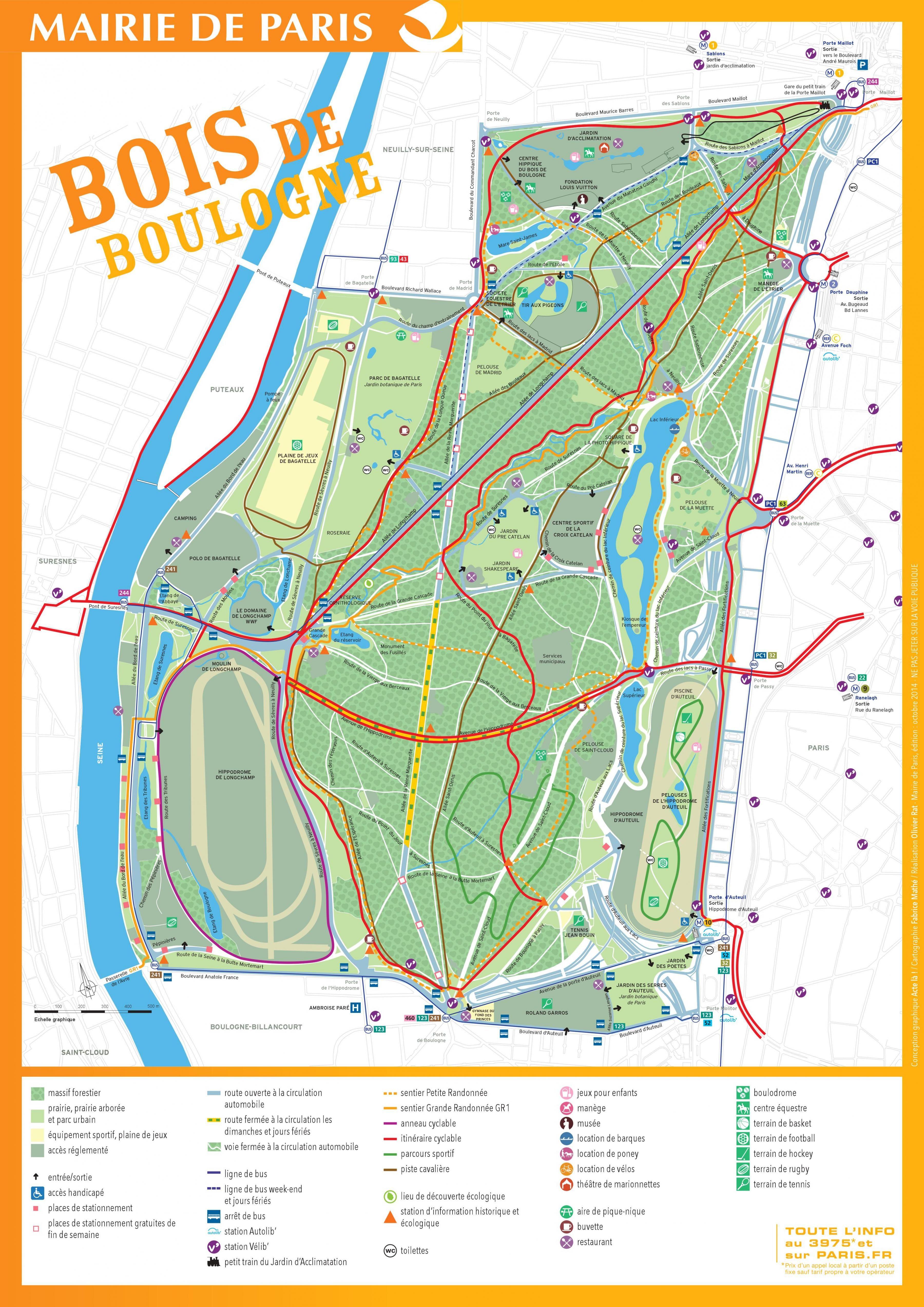 Map Of The Bois De Boulogne Http Map Of Paris Com Parks