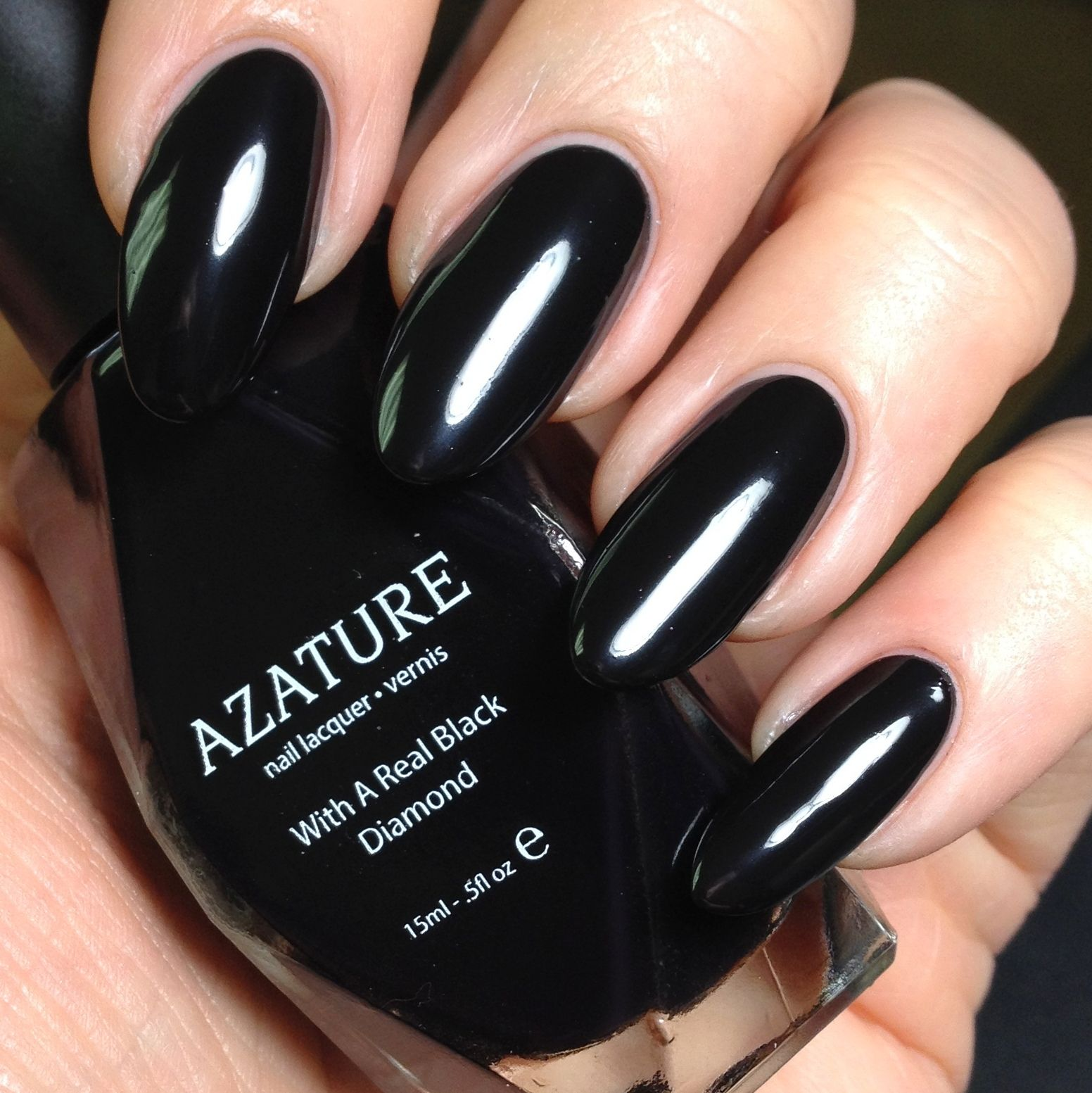 Azature black diamond nail polish in Midnight Diamond. The entire 40 ...