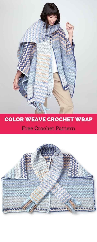 COLOR WEAVE CROCHET WRAP [ FREE CROCHET PATTERN   Crochet LOVE ...