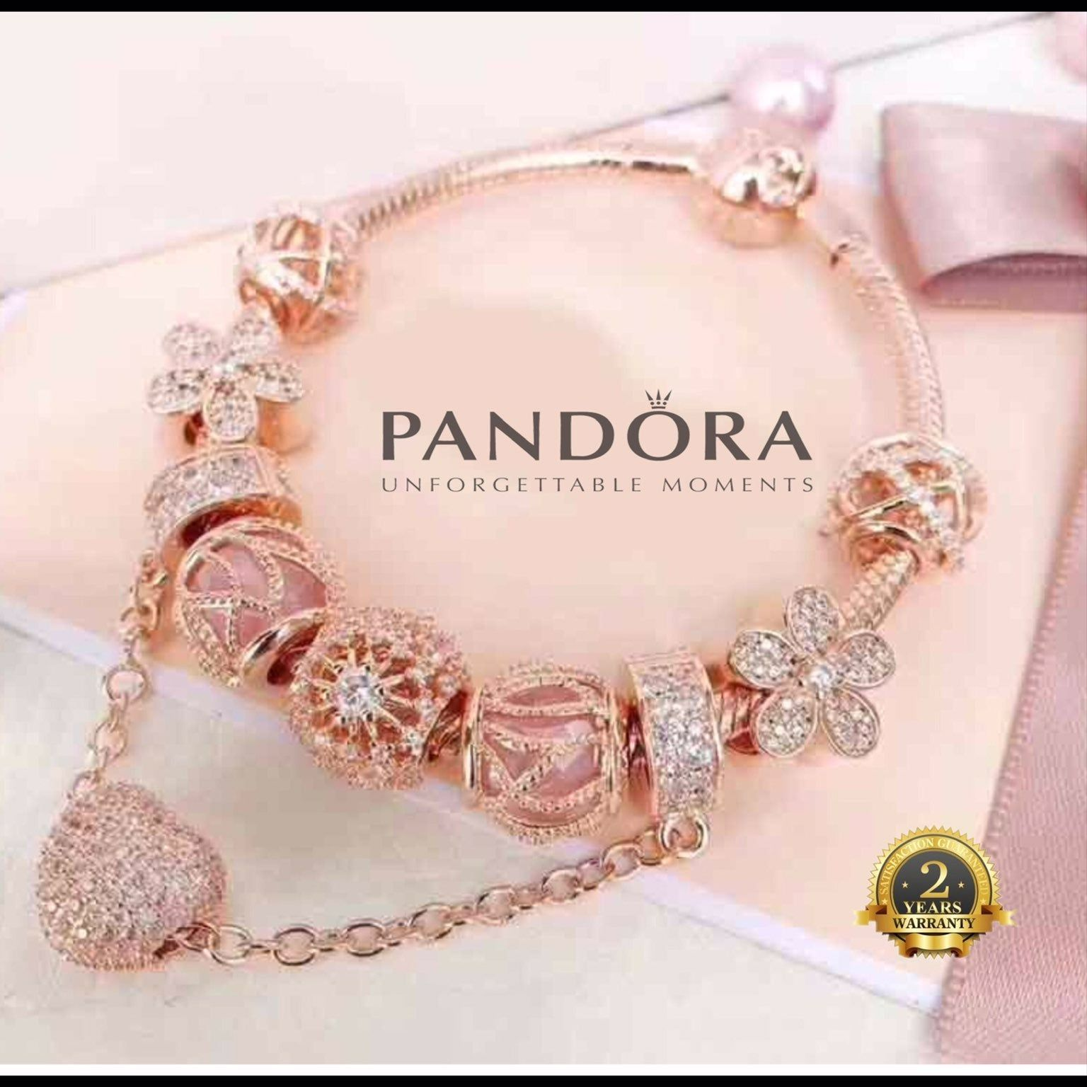 Authentic Pandora rose gold bracelet with 8 pandora rose gold cz ...