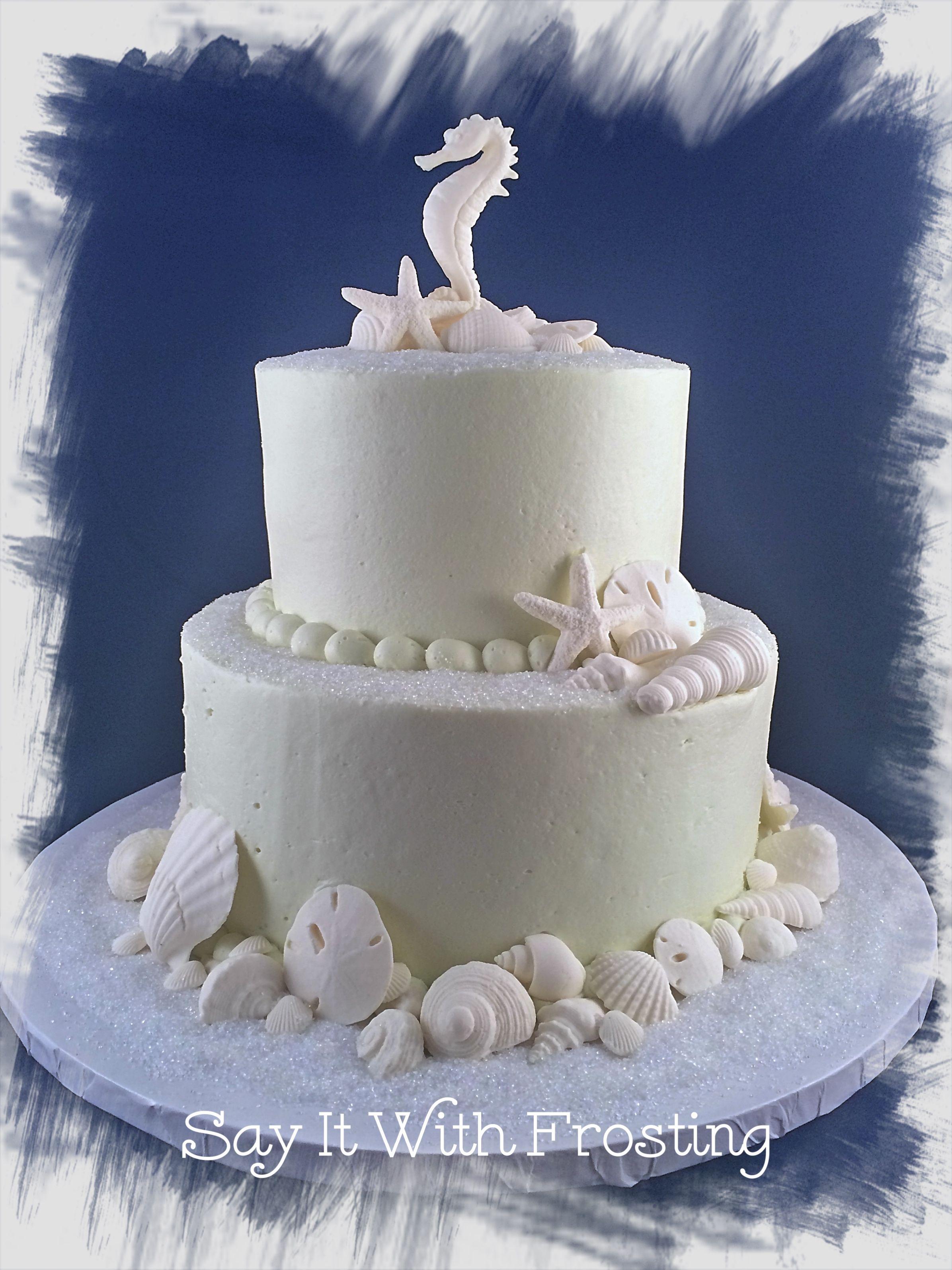 Buttercream Beach Themed Cake For A Pensacola Bridal Shower