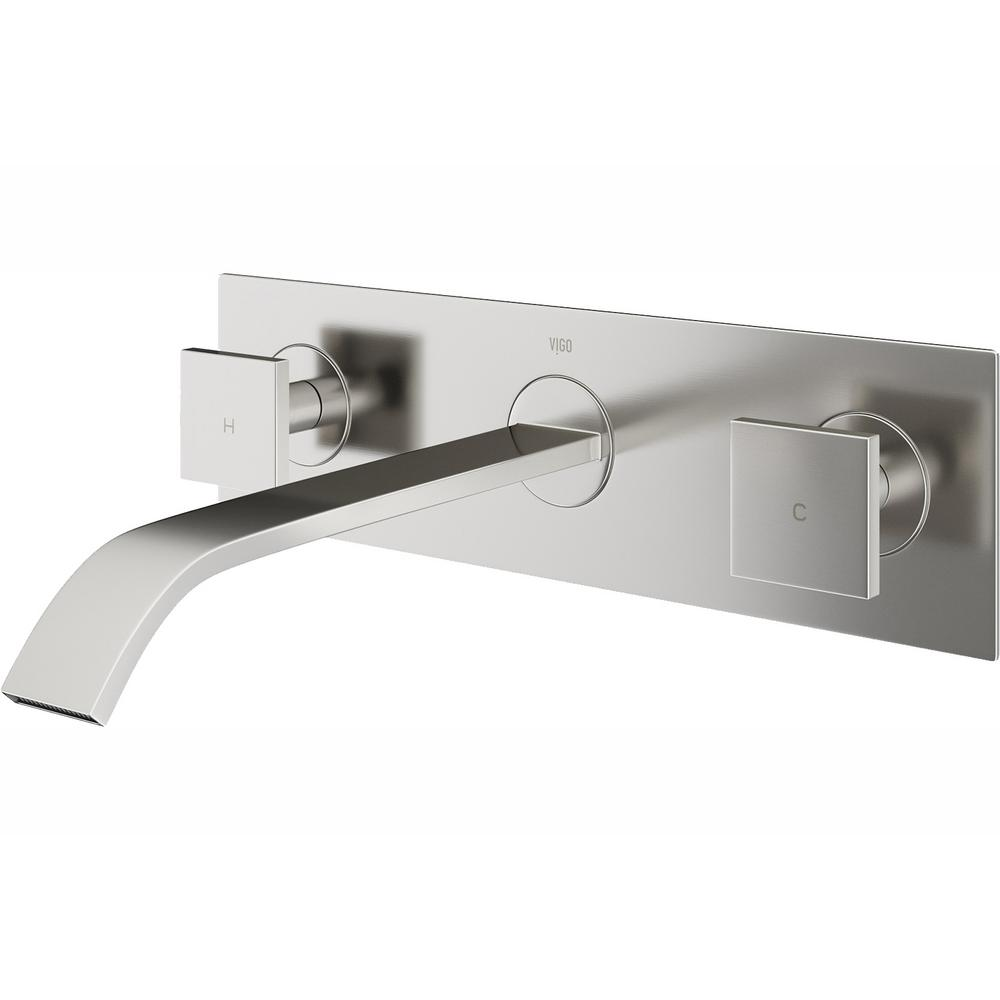 Vigo Titus 2 Handle Wall Mount Vessel Bathroom Faucet In Brushed