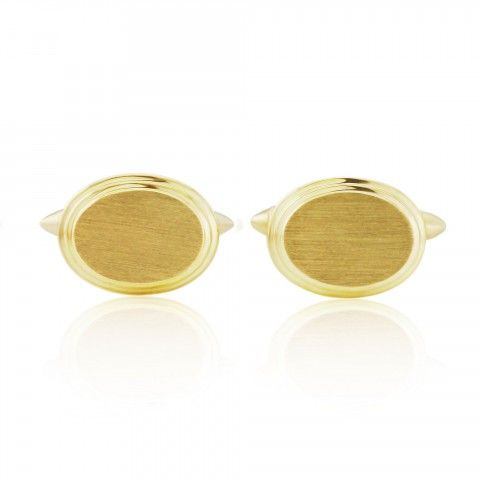Rudells 9ct Yellow Gold Oval Cufflinks - Large Image
