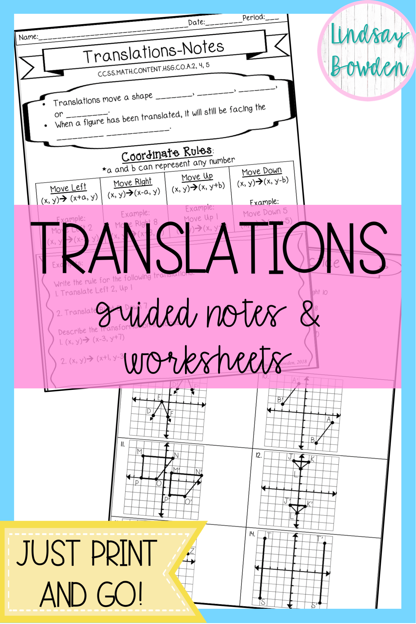 Translations Notes And Worksheet In