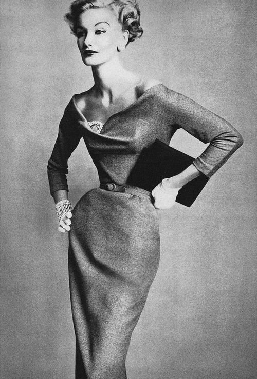 Fifties Glamour - wool dress with bias cut bodice & sleeves. oh, and a girdle of course...