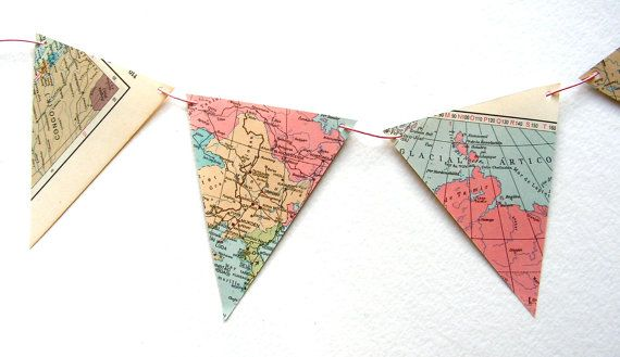 Vintage map bunting in pastels Le monde en rose by moonandlion