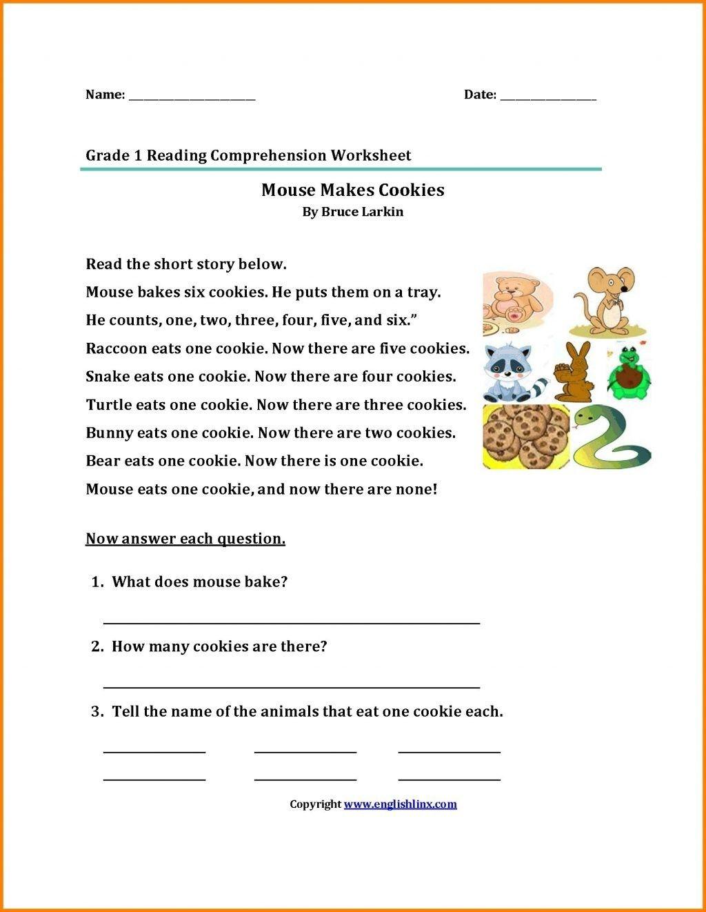 4 Worksheet Reading Comprehension Worksheets First Grade 1