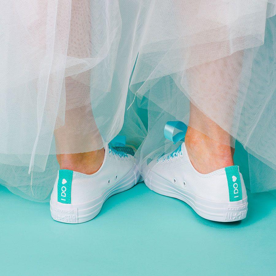 Custom converse wedding shoes heel tags with heart motif