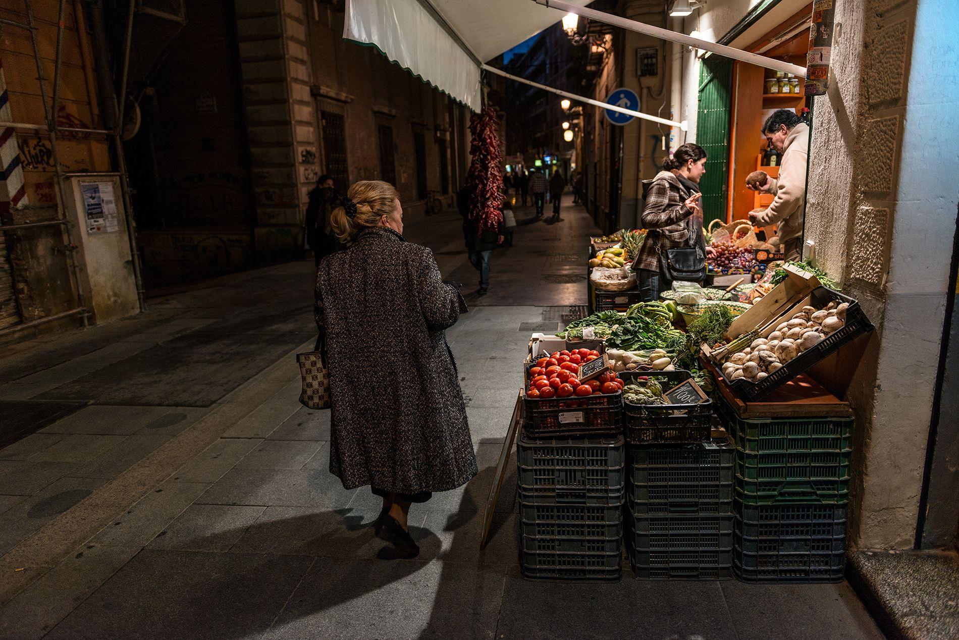 El puesto de verduras