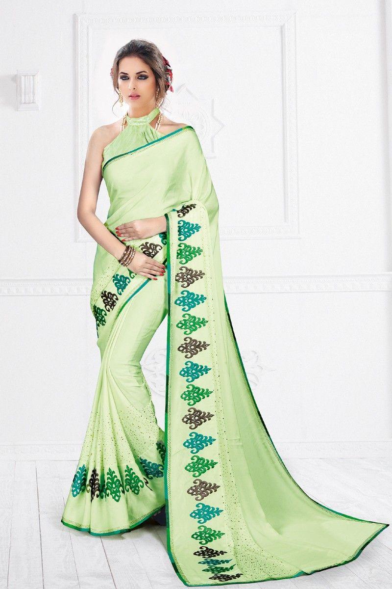 Pure silk saree delicate pastel green designer saree  online store  pinterest