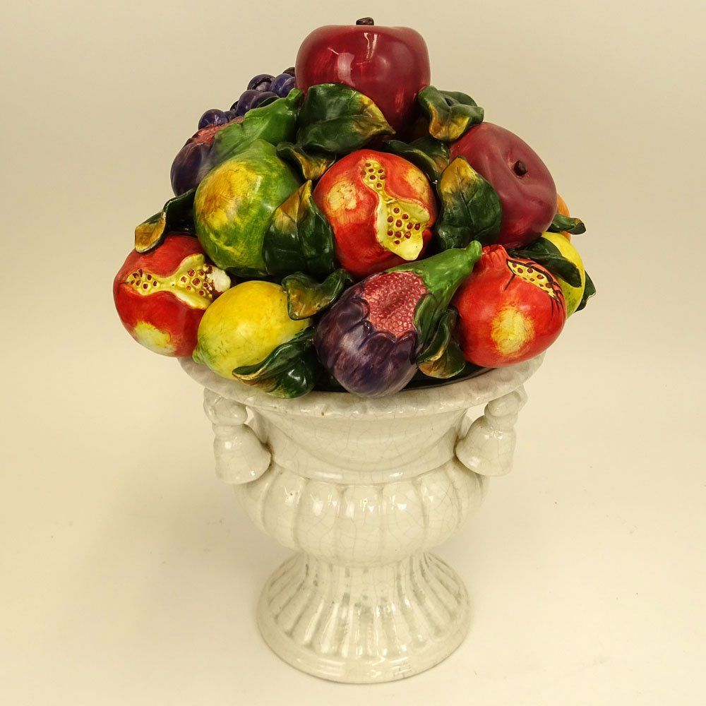 Large Vintage Italian Majolica Pottery Fruit Topiary | Vegetables ...