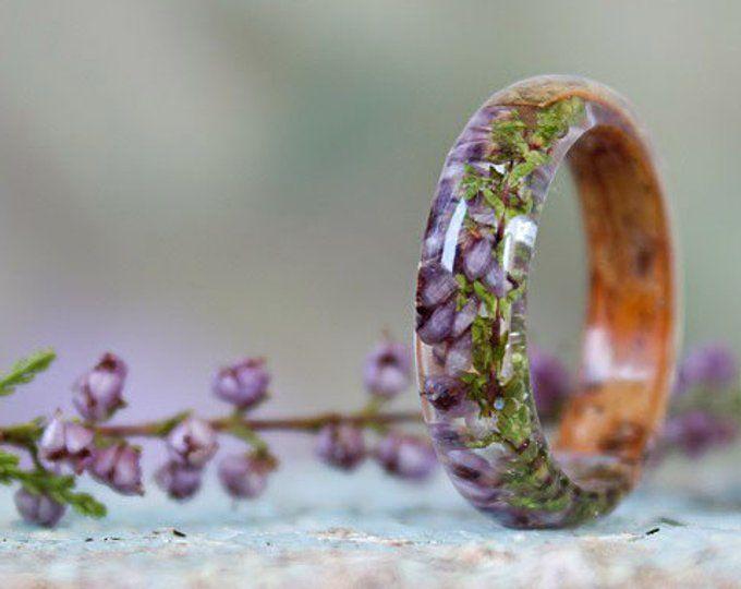 REAL FERN Harz Ring Birkenrinde Ring Holz Harz Ring Natur Harz Ring zarten Ring grünen Ring rustikalen Ring umweltfreundliche Wald Schmuck