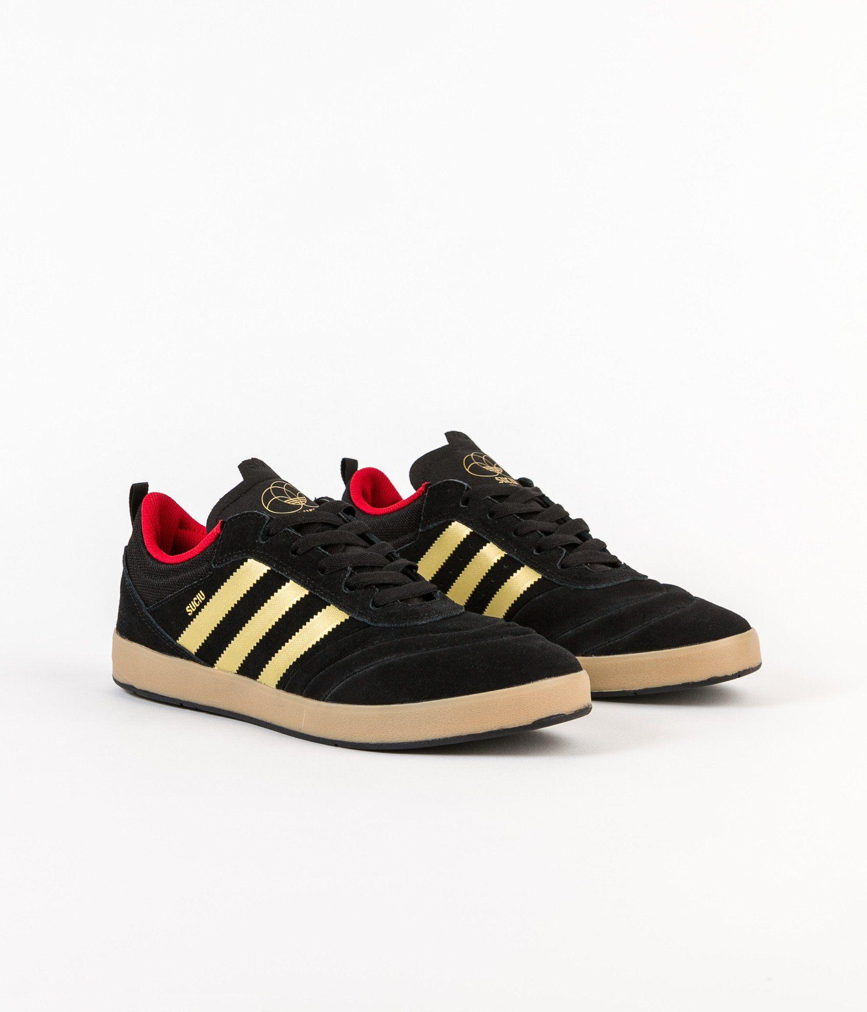 Adidas Suciu Adv Shoes - Core Black   Gold Foil   Gum4 Skateboard Store 3f683b803