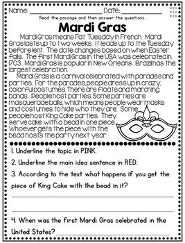 February Reading Comprehension Nonfiction Passages With Images
