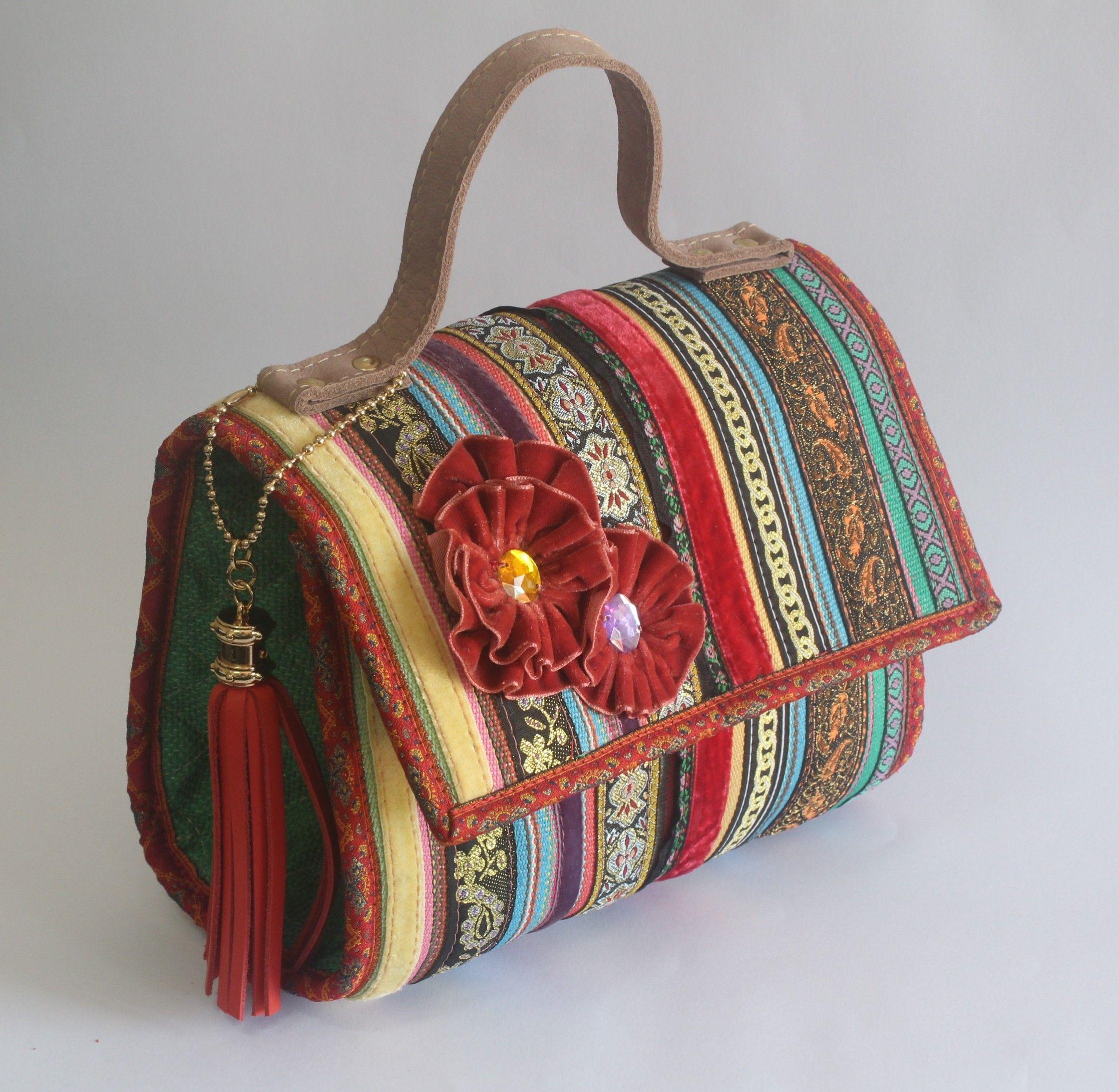 Bolsa De Tecido Artesanal : Bolsa artesanal de fitas pequena puppen