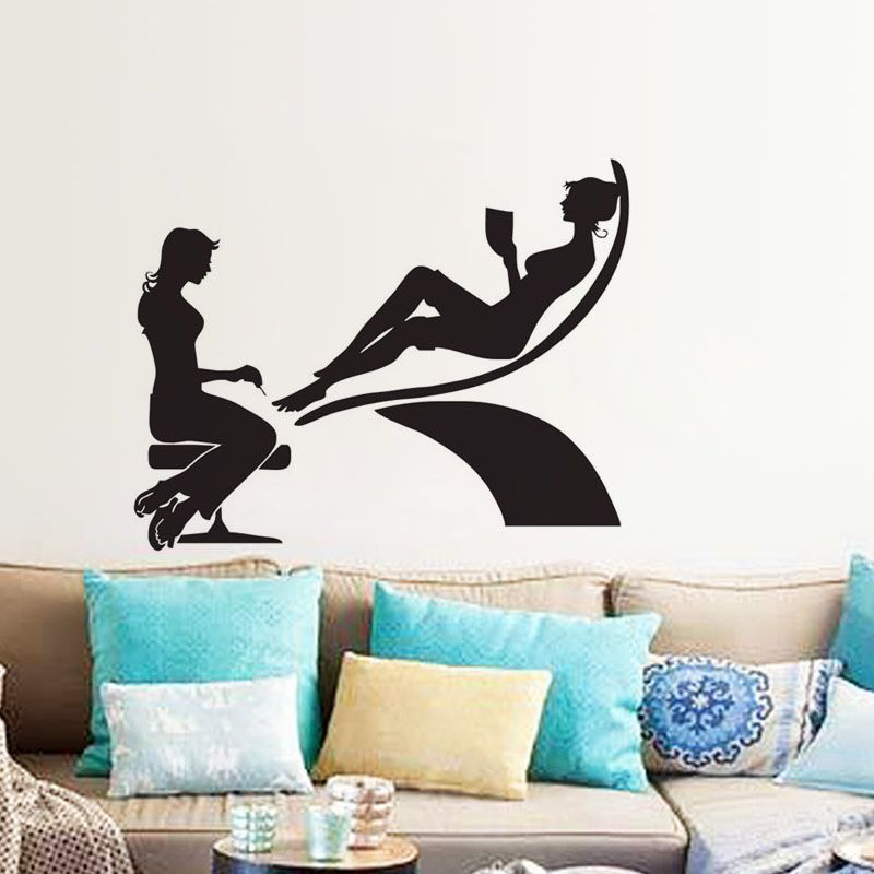 Cheap Wall Sticker, Buy Quality Wall Mural Directly From China Stickers  Home Decor Suppliers: EHOME Two Girls In Manicure Salon Wall Decals Vinyl  Fashion ...
