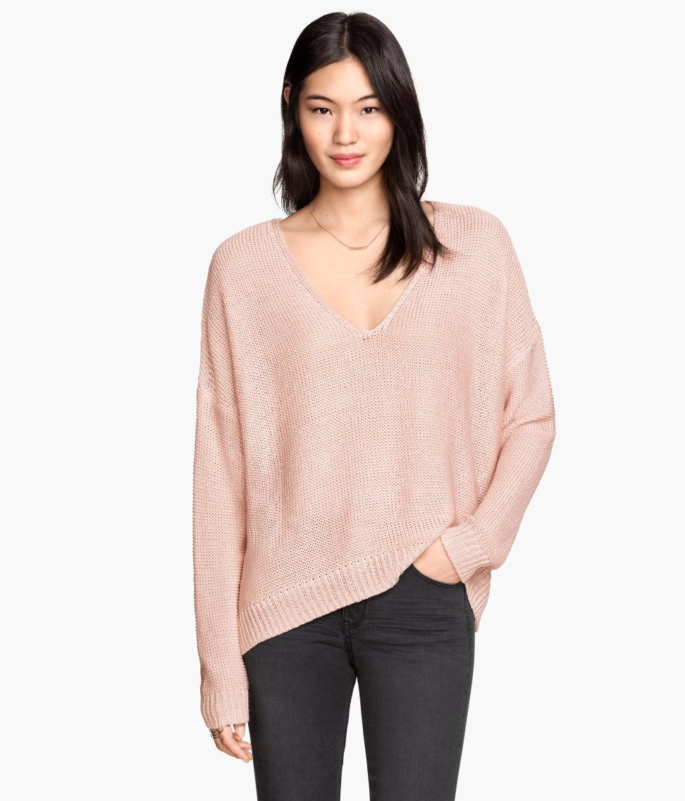Slouchy powder pink V-neck sweater with long sleeves & side slits ...