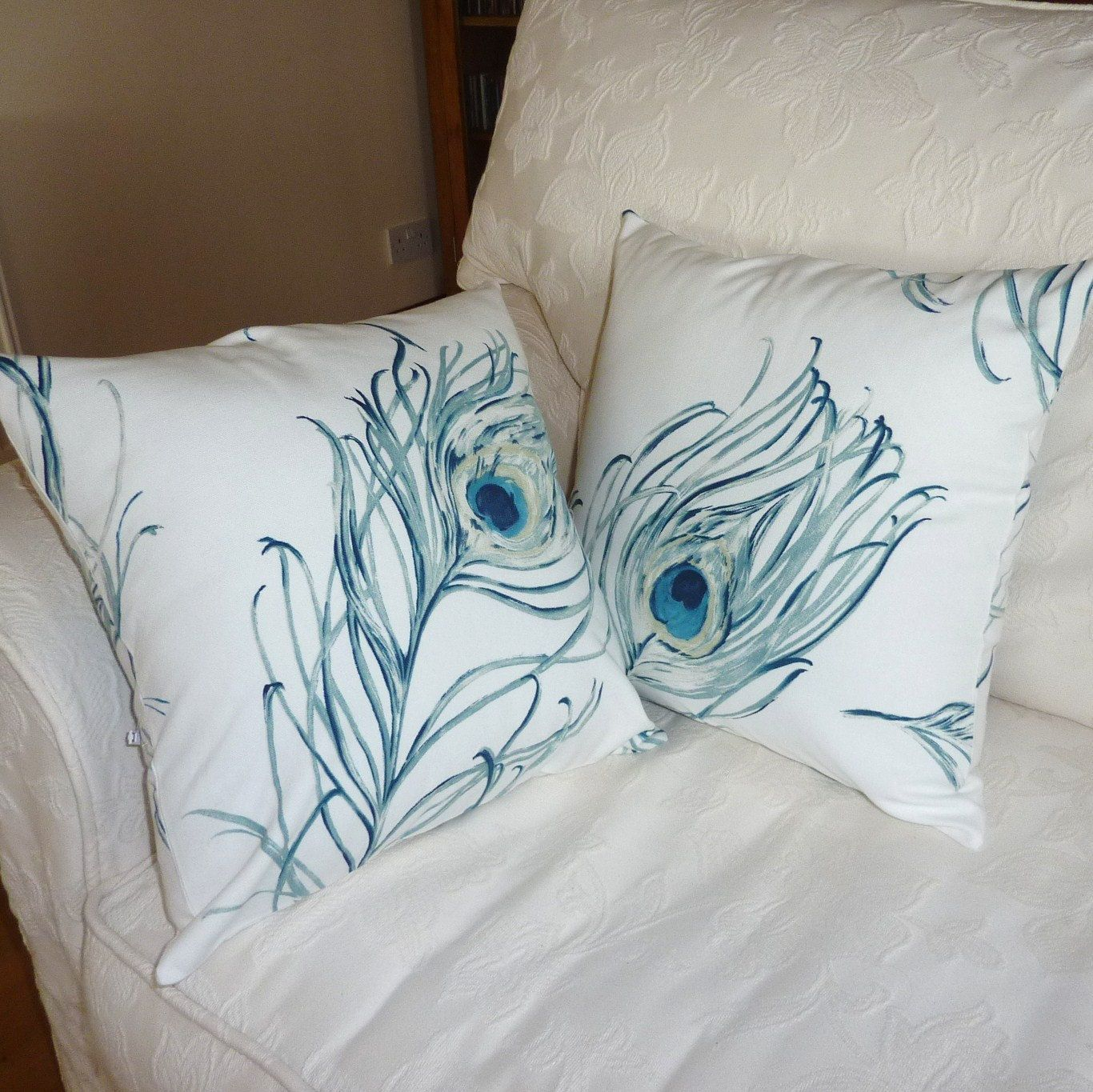Peacock Pillow cushion, turquoise with cream background, 16 x 16 pair. £22.00, via Etsy.