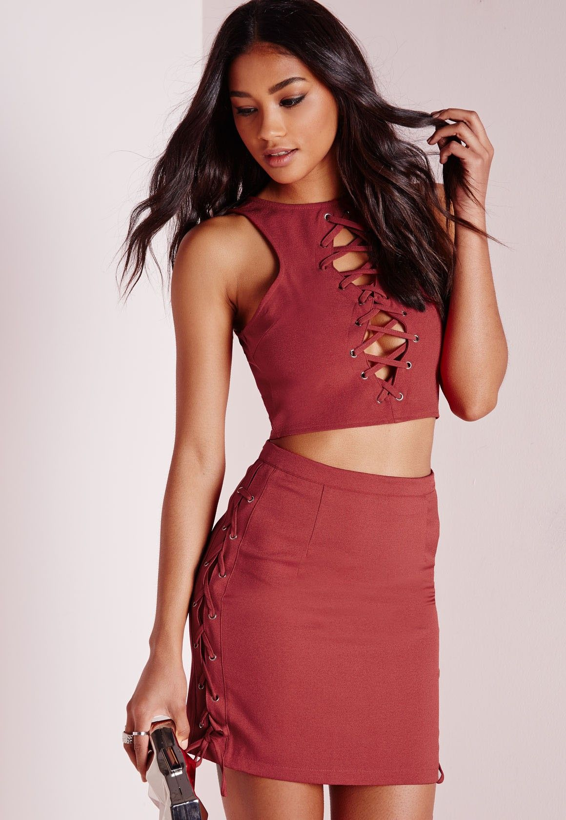 Missguided - Lace Up Front Crop Top Rust