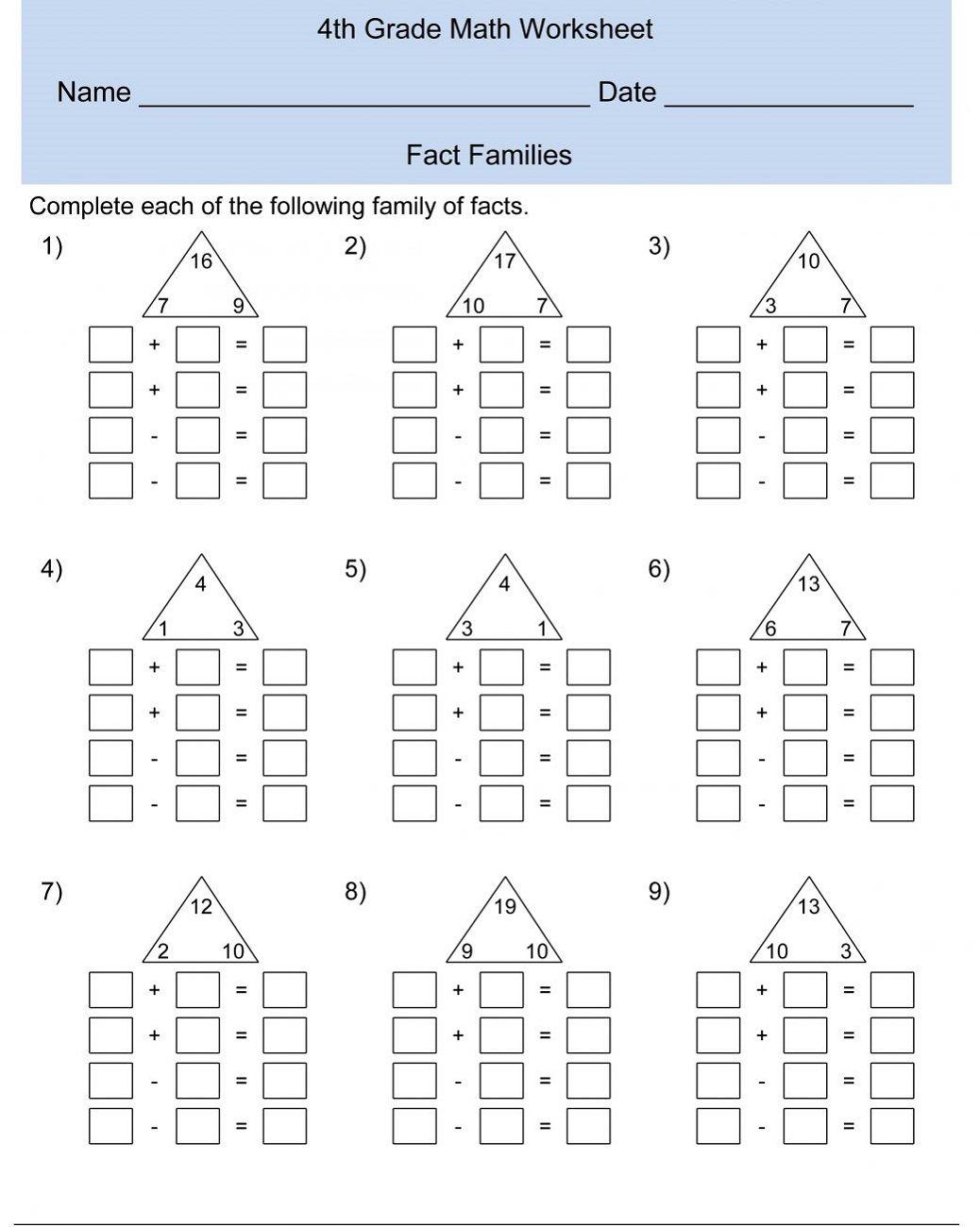 Fact Families 4th Grade Math Fourth Grade Math