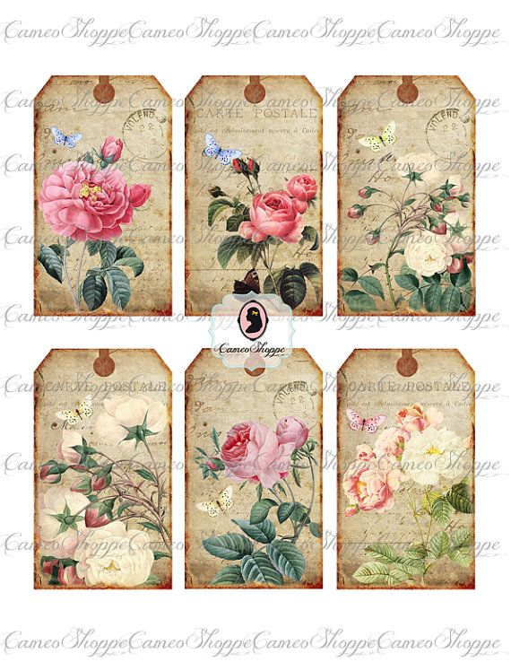 75 OFF SALE Digital Collage Sheet SHABBY Old Roses by cameoshoppe