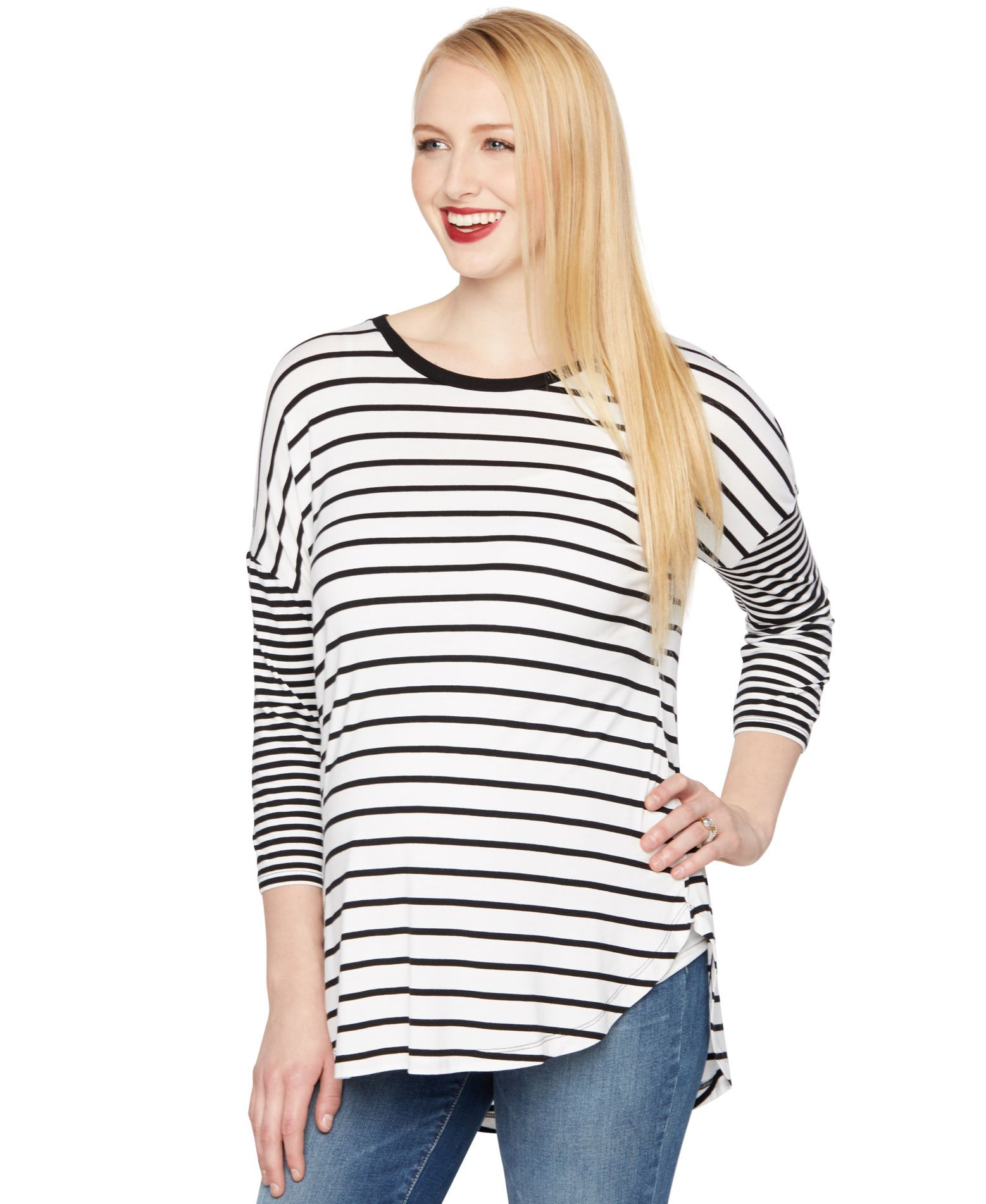 A Pea in the Pod Maternity Striped Three-Quarter-Sleeve Top