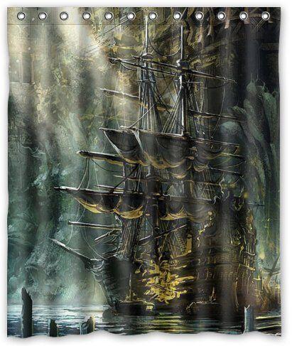 robot check shower curtain decor