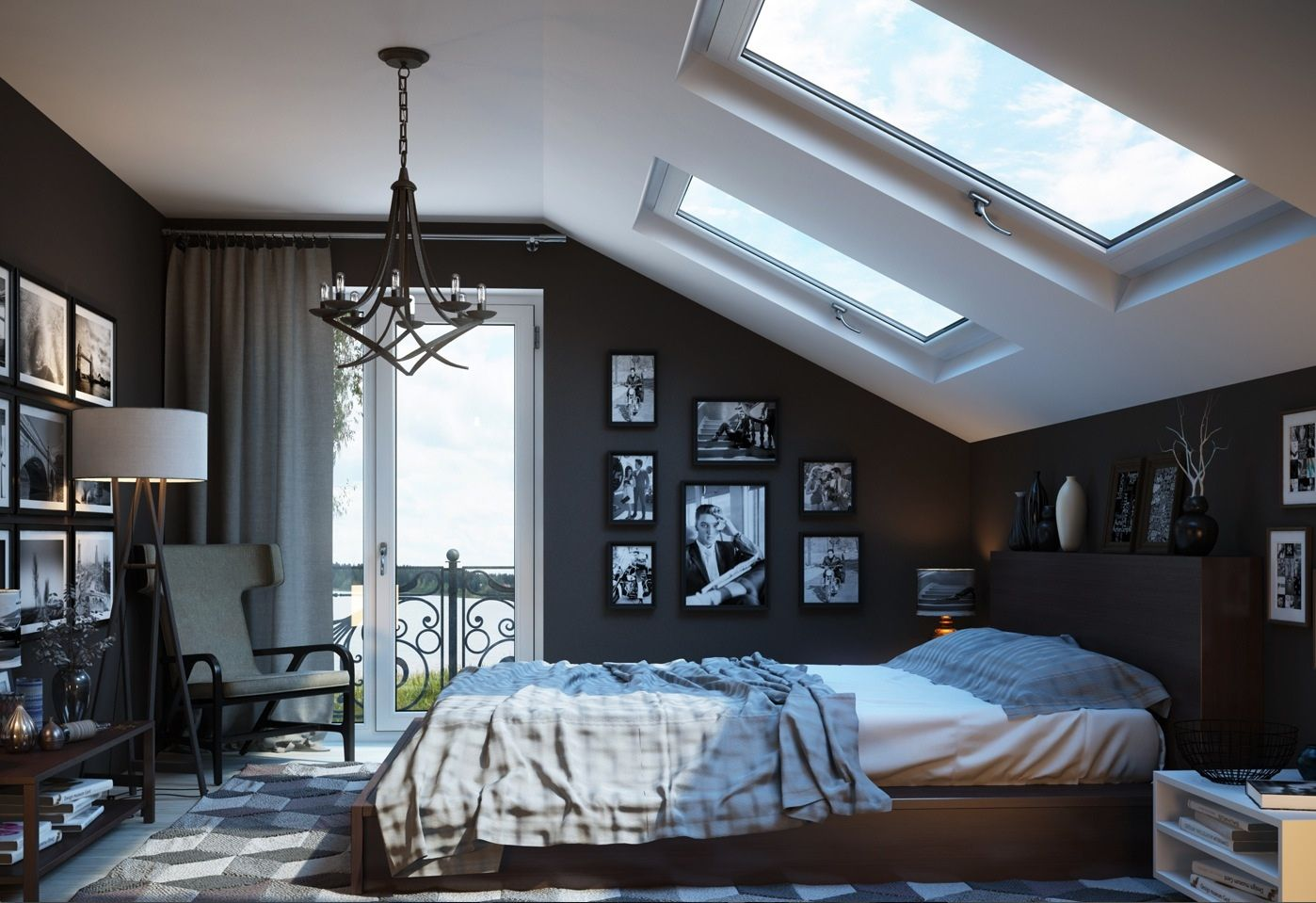 Dazzling Loft Bedroom Design Ispiration with White Ceiling plus Double  Fixed Skylight also Grey Wall Paint Color along with Wooden Platform Bed  and ...