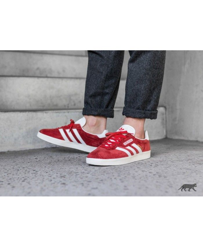 ff48dd04cbfd63 Adidas Gazelle Super Red Vintage White Gold Metallic Shoes