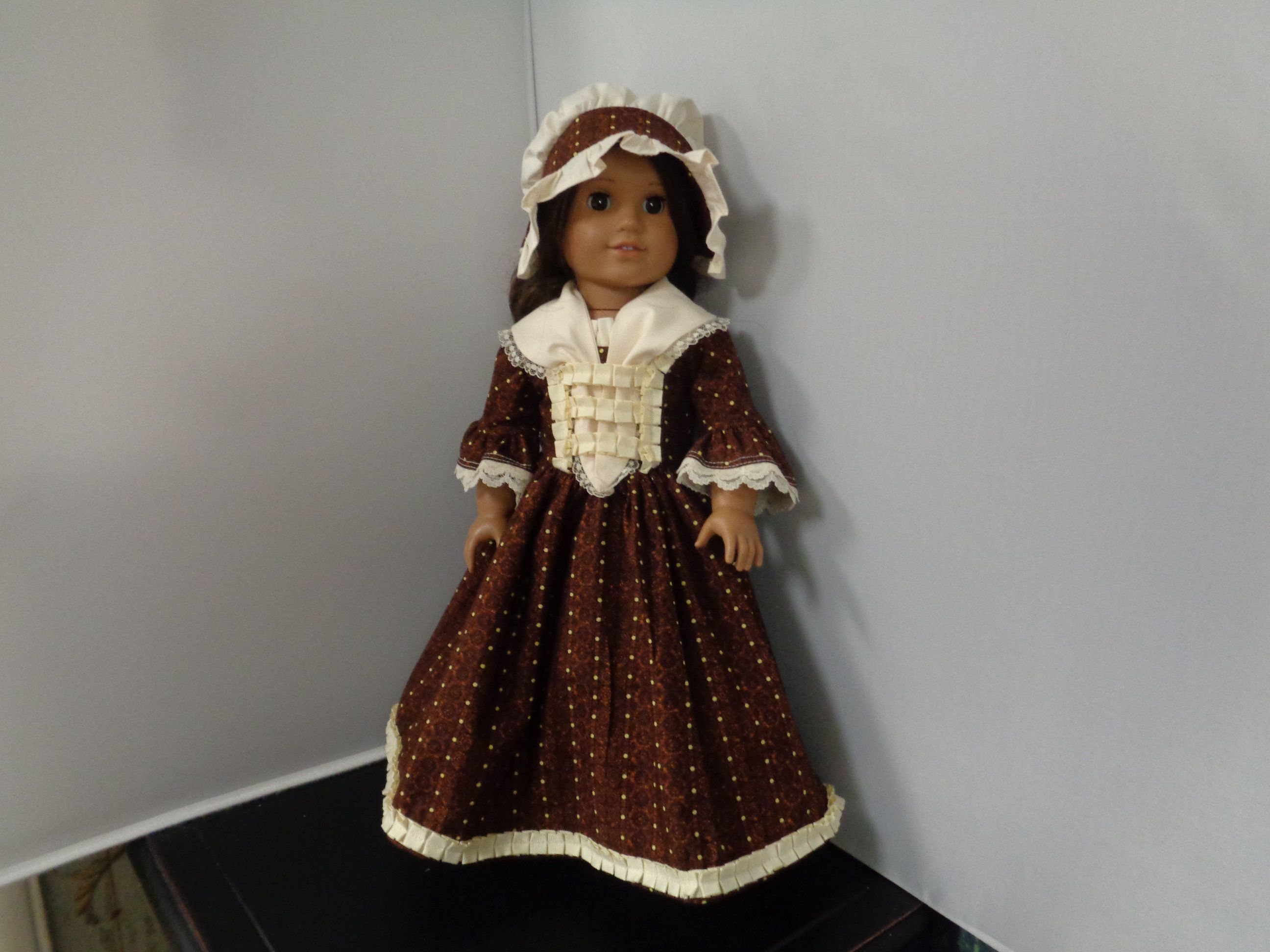 Brown and Creme--Colonial Day Dress --for 18 inch Dolls-- Fits American Girl Dolls #colonialdolldresses