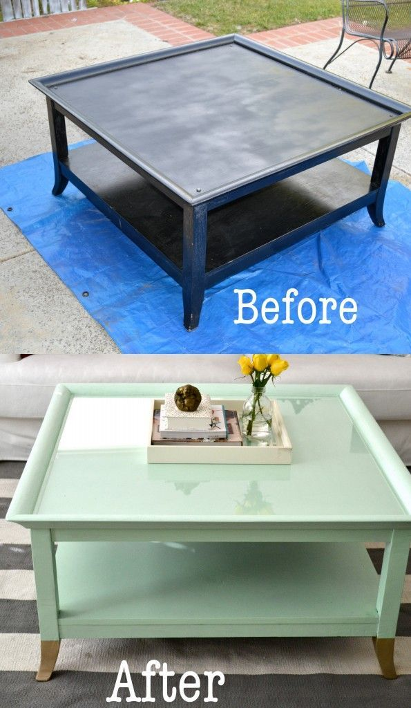 Elegant Mint Coffee Table With Gold Feet: A Makeover