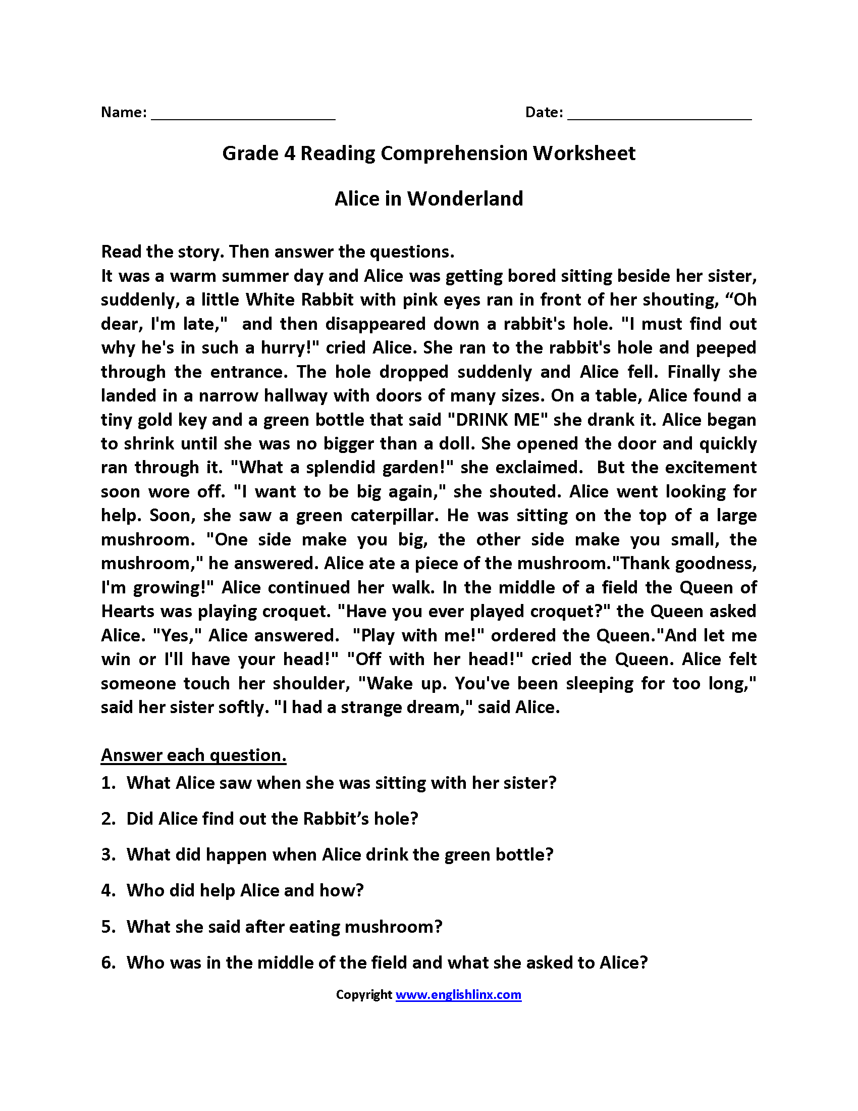 Alice In Wonderland Fourth Grade Reading Worksheets