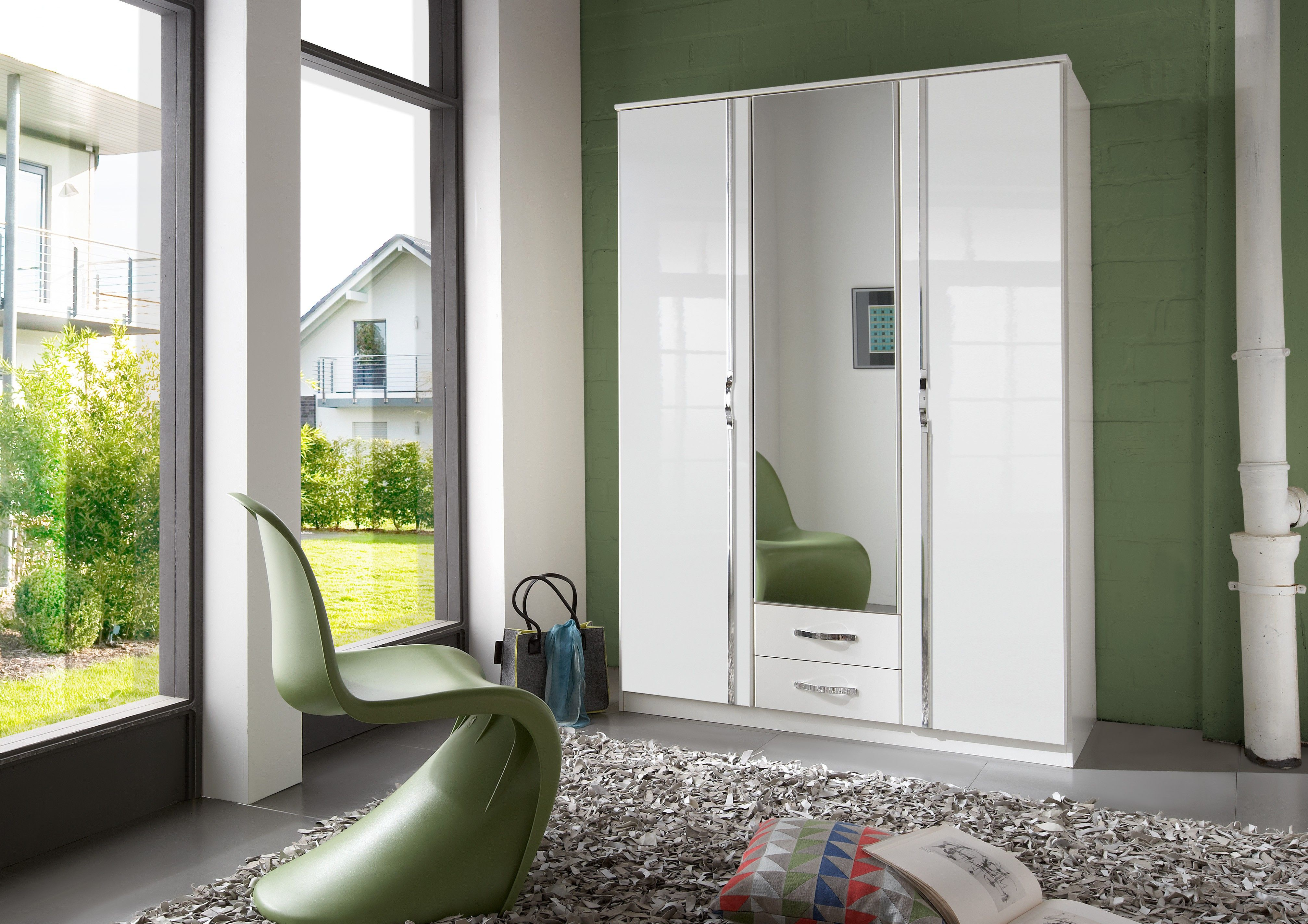 white high gloss wardrobes with drawers from