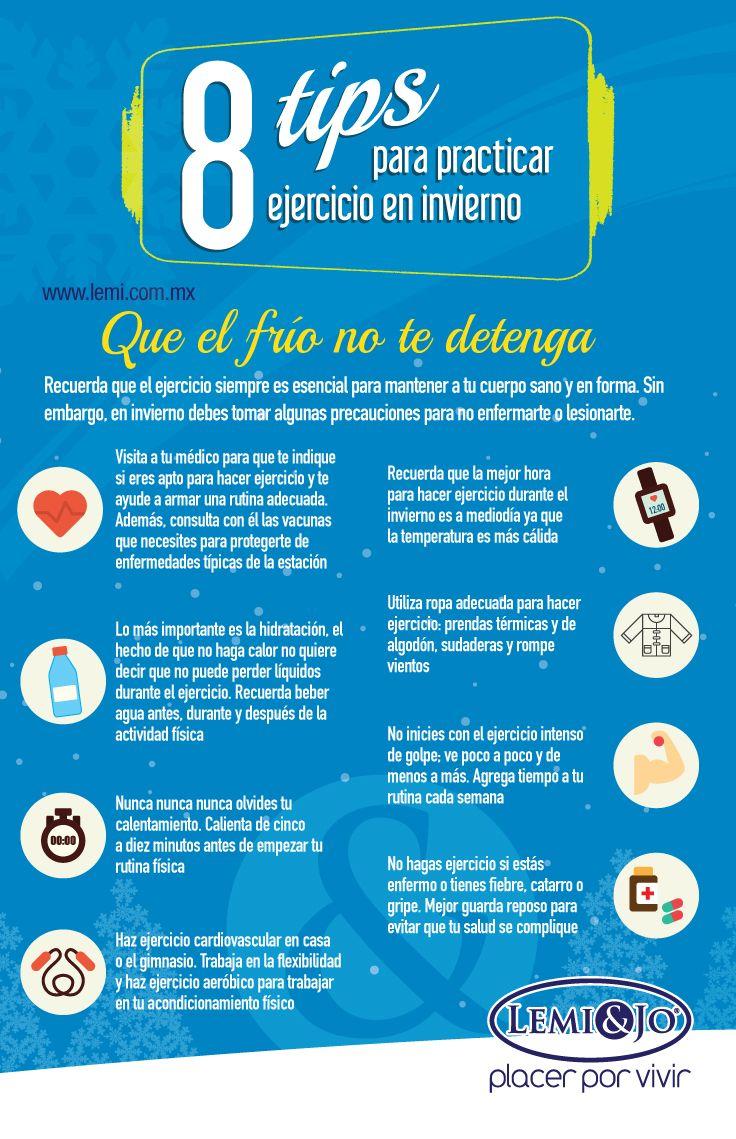Infografía: 8 #tips para practicar #ejercicio en #invierno.  #fitness y #salud #infografia