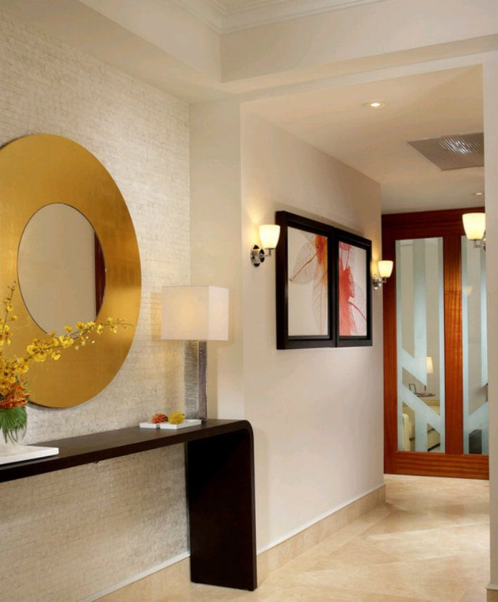 Top 5 Ideas For A Gold Round Mirror Contemporary Hallway Modern