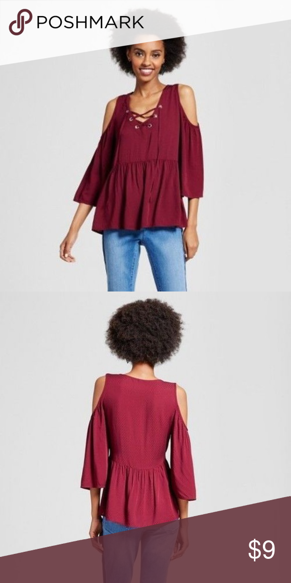 f159eacde4edb ... Size XX NEW Xhilaration Junior s Cold Shoulder Top Size XXL. Lace up  neckline. High Low. Babydoll. 100% Rayon. Burgundy. NWT. Xhilaration Tops  Blouses