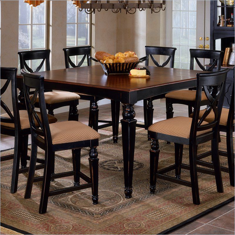 Lovely Hillsdale Northern Heights Counter Height Dining Table In Black And Cherry