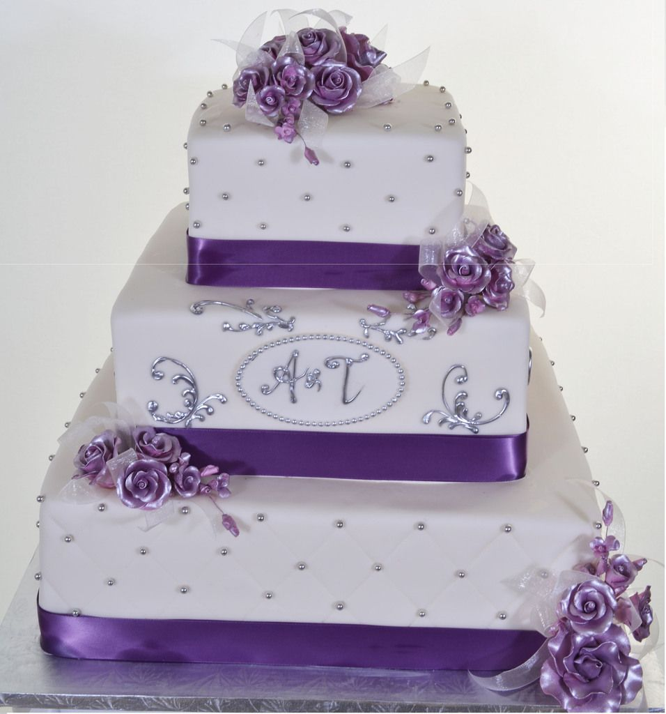 W560 Quilted Roses Purple Wedding Cakes Square Wedding Cakes Cool Wedding Cakes