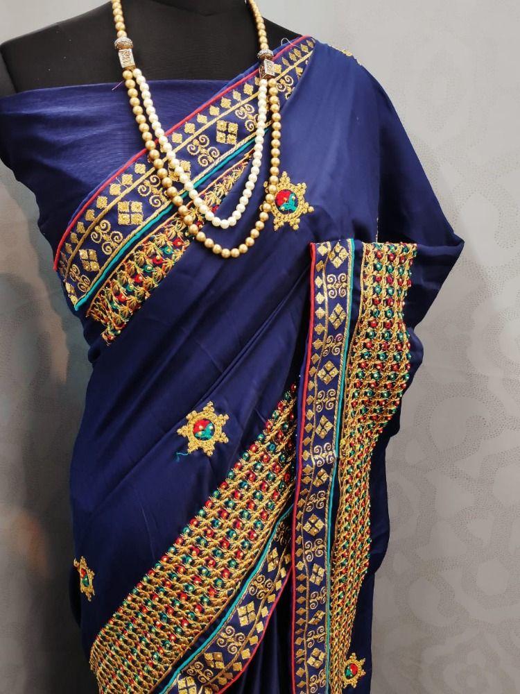 Black Nylon Satin with Beautiful Handprint saree and blouse for women,indian saree,saree dress,dress for women,wedding saree,designer saree