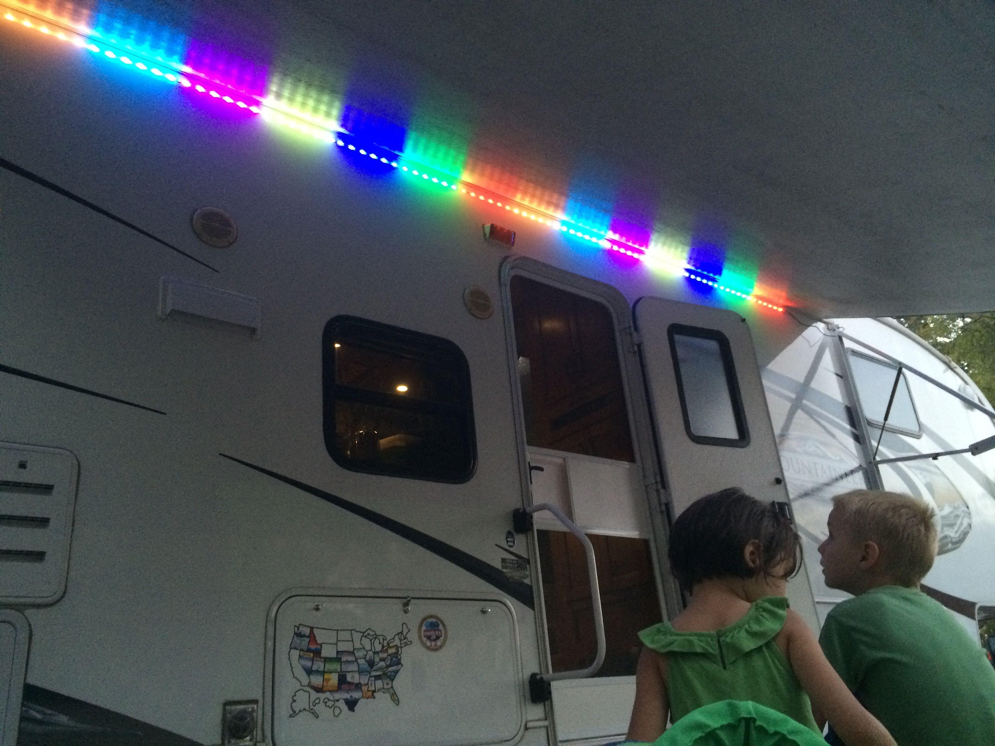 Added Led Lights Under The Awning Rv Mods Camper Rv