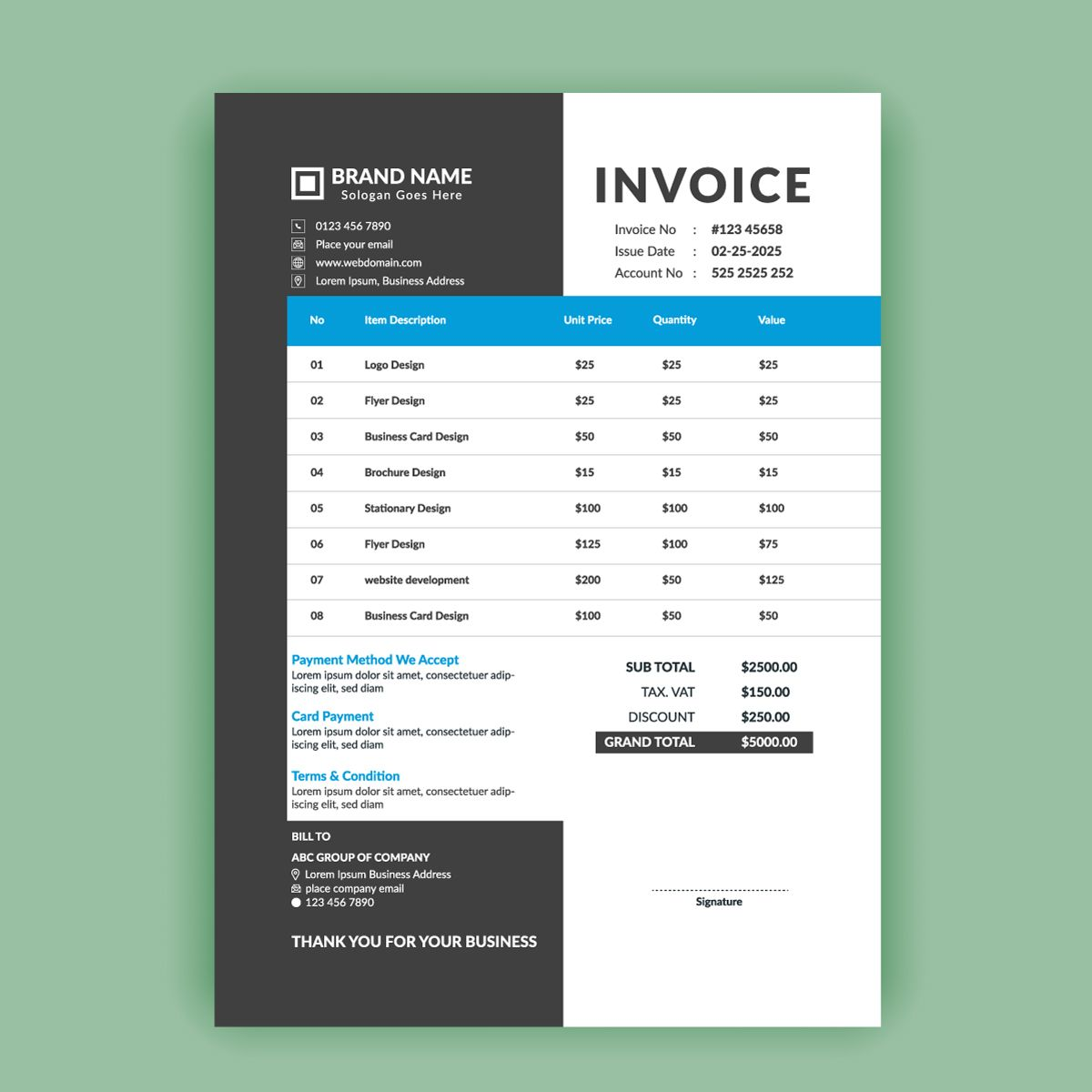 Clean and modern minimal business invoice template vector