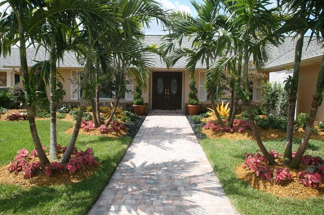 Tropical Palm Tree Landscape Design Ideas Listed In Small Front Yard  Tropical Plants