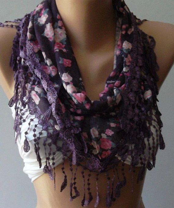 Purple  flowered  Elegance  Shawl / Scarf with Lacy Edge by womann, $19.00